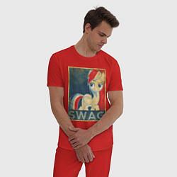 Пижама хлопковая мужская Rainbow Dash SWAG цвета красный — фото 2