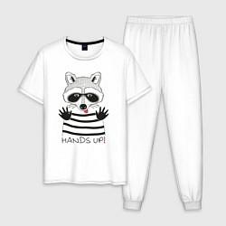 Пижама хлопковая мужская Hands Up цвета белый — фото 1