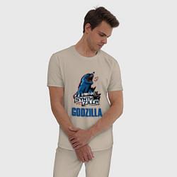 Пижама хлопковая мужская GODZILLA SYNTHZILLA цвета миндальный — фото 2