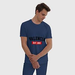 Пижама хлопковая мужская FC Valencia Est. 1919 цвета тёмно-синий — фото 2