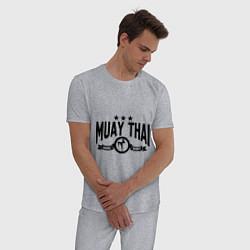 Пижама хлопковая мужская Muay thai boxing цвета меланж — фото 2