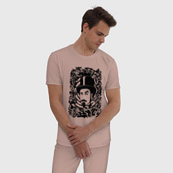 Пижама хлопковая мужская System of a Down цвета пыльно-розовый — фото 2