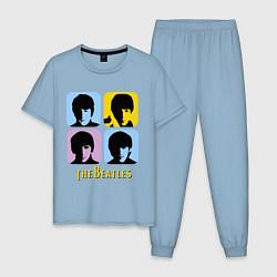 Пижама хлопковая мужская The Beatles: pop-art цвета мягкое небо — фото 1