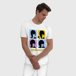 Пижама хлопковая мужская The Beatles: pop-art цвета белый — фото 2
