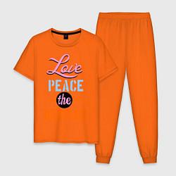 Пижама хлопковая мужская Love peace the Beatles цвета оранжевый — фото 1
