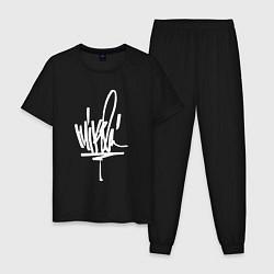 Пижама хлопковая мужская Mike Shinoda: autograph цвета черный — фото 1
