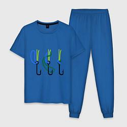 Пижама хлопковая мужская Рыболовный узел цвета синий — фото 1
