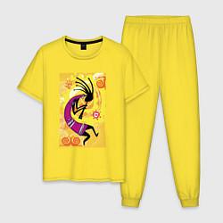 Пижама хлопковая мужская Африканский туземец цвета желтый — фото 1