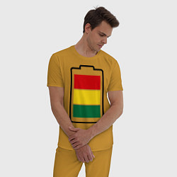 Пижама хлопковая мужская Happy Battary цвета горчичный — фото 2