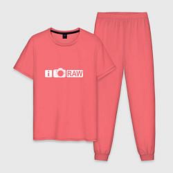 Пижама хлопковая мужская I love RAW цвета коралловый — фото 1