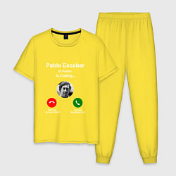 Пижама хлопковая мужская Escobar is calling цвета желтый — фото 1