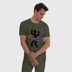 Пижама хлопковая мужская Portal Рoops цвета меланж-хаки — фото 2