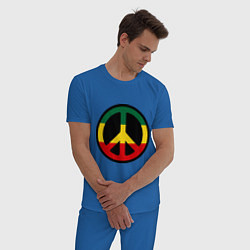 Пижама хлопковая мужская Peace Symbol цвета синий — фото 2