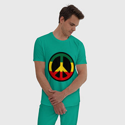 Пижама хлопковая мужская Peace Symbol цвета зеленый — фото 2