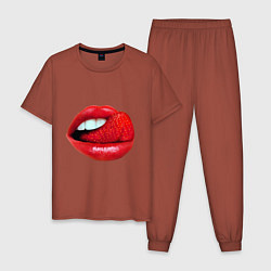 Пижама хлопковая мужская Губы с клубникой цвета кирпичный — фото 1