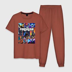 Пижама хлопковая мужская Fortnite GTA цвета кирпичный — фото 1