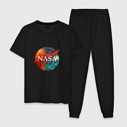 Пижама хлопковая мужская NASA: Nebula цвета черный — фото 1