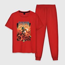 Пижама хлопковая мужская DOOM id цвета красный — фото 1