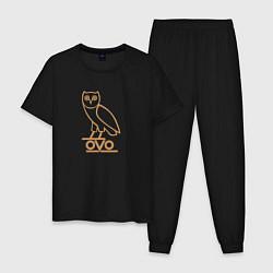 Пижама хлопковая мужская OVO Owl цвета черный — фото 1