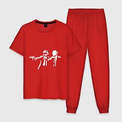 Пижама хлопковая мужская Daft Punk цвета красный — фото 1