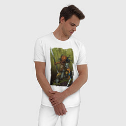 Пижама хлопковая мужская Ярость хищника цвета белый — фото 2