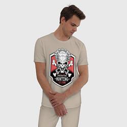 Пижама хлопковая мужская Predator: Hunting Club цвета миндальный — фото 2