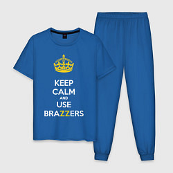 Пижама хлопковая мужская Keep Calm & Use Brazzers цвета синий — фото 1
