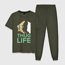 Пижама хлопковая мужская Zoidberg: Thug Life цвета меланж-хаки — фото 1