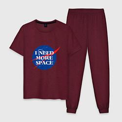 Пижама хлопковая мужская I need more space цвета меланж-бордовый — фото 1