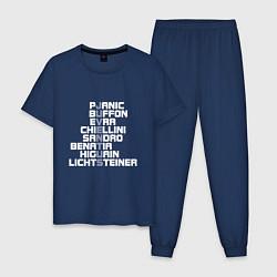 Пижама хлопковая мужская Звезды Ювентуса цвета тёмно-синий — фото 1