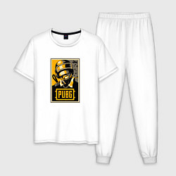 Пижама хлопковая мужская PUBG: Hell Sun цвета белый — фото 1