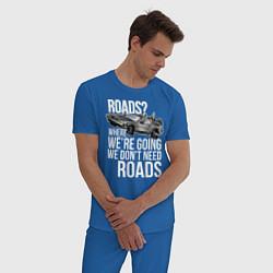 Пижама хлопковая мужская We don't need roads цвета синий — фото 2