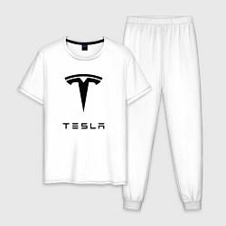 Пижама хлопковая мужская TESLA Mobile цвета белый — фото 1