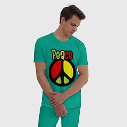 Пижама хлопковая мужская Peace tricolor цвета зеленый — фото 2