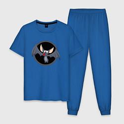 Пижама хлопковая мужская Мышь цвета синий — фото 1