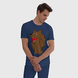Пижама хлопковая мужская Медведь цензурный цвета тёмно-синий — фото 2