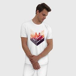 Пижама хлопковая мужская Путешествия цвета белый — фото 2