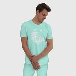 Пижама хлопковая мужская Смотри на меня цвета мятный — фото 2