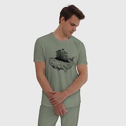 Пижама хлопковая мужская Whale forest цвета авокадо — фото 2