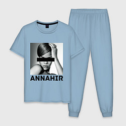 Пижама хлопковая мужская Rihanna цвета мягкое небо — фото 1