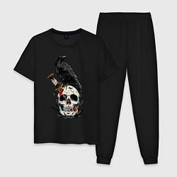 Пижама хлопковая мужская Ворон цвета черный — фото 1