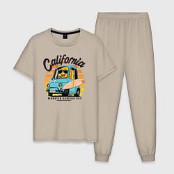 Пижама хлопковая мужская Калифорния цвета миндальный — фото 1