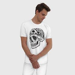 Пижама хлопковая мужская Карате цвета белый — фото 2