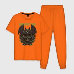 Пижама хлопковая мужская Время Полночи цвета оранжевый — фото 1