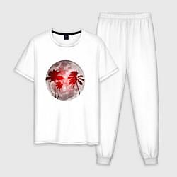 Пижама хлопковая мужская Красный закат в тропиках цвета белый — фото 1
