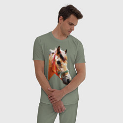 Пижама хлопковая мужская Лошадь цвета авокадо — фото 2