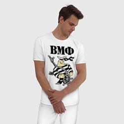 Пижама хлопковая мужская ВМФ за штурвалом цвета белый — фото 2