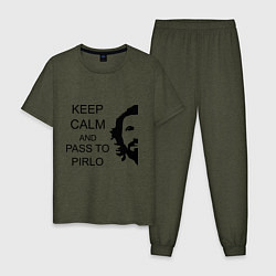 Пижама хлопковая мужская Keep Calm & Pass To Pirlo цвета меланж-хаки — фото 1