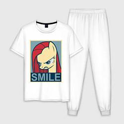 Пижама хлопковая мужская MLP: Smile цвета белый — фото 1