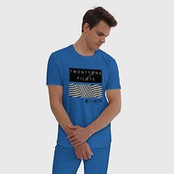 Пижама хлопковая мужская TOP: Geometry цвета синий — фото 2